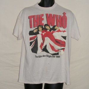 THE WHO Concert Tshirt, L/XL, White, 1989, 2 sided